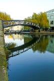 Camden bridge. Pedestrian steel bridge over canal in Camden Stock Photo