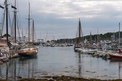 Camden Harbor Anchored Boats royaltyfri fotografi
