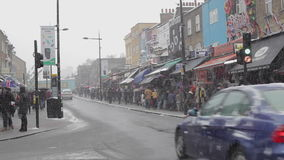 Camden High Street Snow stock video footage