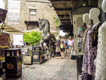Camden Lock Bridge. A famous alternative culture shops Royalty Free Stock Photography