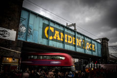 Camden lock. Railway bridge in london Stock Photos
