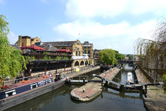 Camden Lock in London, United Kingdom. LONDON, UNITED KINGDOM - Camden Lock in London, United Kingdom. or Hampstead Road Locks, is the only twin-lock remaining Stock Photos