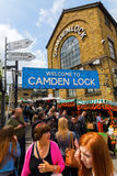 Camden Lock Market, London, UK. London, UK - June 17, 2016: at Camden Lock Market with unidentified people. Camden Markets are the 4th-most popular visitor Stock Images