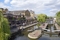 Camden Lock. The a riverside Bar over looks the beautiful water ways at Camden Lock in London Royalty Free Stock Image