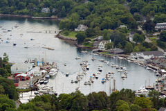 Camden, Maine. View of Camden harbor from the top of the mountain Royalty Free Stock Photography