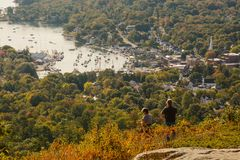 Camden Maine From Atop Mt. Battie. A view of the harbor town of Camden from atop Mt. Battie Royalty Free Stock Photography