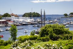Camden, Maine, USA. Part of Camden Harbor, Camden, Maine, USA, in summer Stock Photos