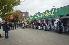 Camden Market with clothes and stuff in London United Kingdom Royalty Free Stock Photography