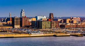 Camden, New Jersey seen from the Ben Franklin Bridge Walkway, in Stock Photography