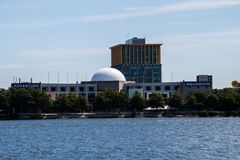 Camden, New Jersey - September 1, 2017: The Riverlink Ferry passes in front of the Camden Adventure Aquarium. This ferry links the Royalty Free Stock Image