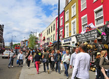 Camden Street in London, United Kingdom. LONDON - MAY 8: Camden Street  in London. Camden Market and streets nearby are the fourth-most popular visitor Stock Images