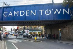 Blue sign over street in Camden Town London England Royalty Free Stock Images