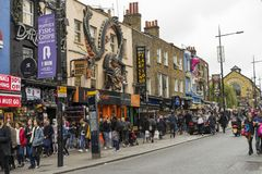 People walking on street in Camden Town London. Camden Town London Great Britain, October 13 2017,  People walking on street, Nice outdoors image from the city Stock Image