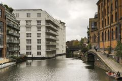 River and houses in Camden Town London Royalty Free Stock Images