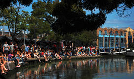 Camden Town in London. People relaxing and eating at Camden Town in London Royalty Free Stock Photo