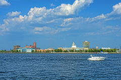 Camden Waterfront and Delaware River in New Jersey Royalty Free Stock Images