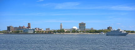 Camden Waterfront on Delaware River in New Jersey. Camden New Jersey waterfront cityscape wide scenic view panorama with cruise boat from across the Delaware Stock Photos