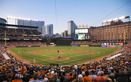 Camden Yards. August 14, 2015, Baltimore, Maryland. A view of Camden Yards home of the Baltimore Orioles from behind home plate as they take on the Oakland Royalty Free Stock Photos