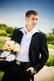 He came with flowers of love Royalty Free Stock Photography