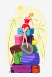 She came on holiday and sunbathe on suitcases. Vector illustration of a girl sitting on a mountain of luggage. She lifted her face to the sun, palm trees around royalty free illustration