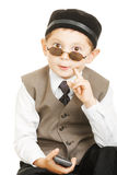Came to solution. Little cute boy in sunglasses came to solution against white background royalty free stock photos