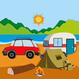Cameground with tent and caravan Stock Photo