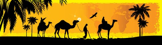 Camel. Caravan in the Desert, Afrika, Camel Stock Photo