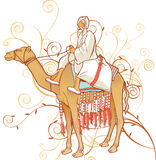 Camel with an Arabian man. Sahara, camel, arabian lifestyle illustration with floral ornaments Stock Photography
