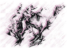 Camel Art. An art of camels running, peoples on it Stock Photos
