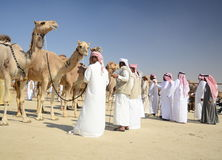Camel Auctioneer. A group of camel auctioneers at the Al Dhafra Camel festival Royalty Free Stock Image
