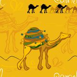 camel and caravan in the desert pattern royalty free illustration
