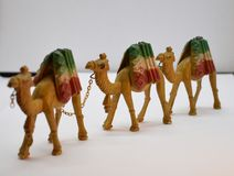 Camel caravan model 3 pieces stock photo