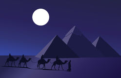 Camel Caravan and the Pyramids Stock Photography