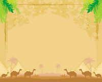 Camel caravan in wild africa - abstract grunge frame Stock Photo