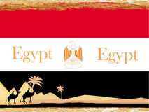 Camel caravan in wild africa - flag of egypt,abstract card Stock Photo