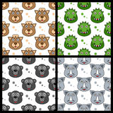 Camel Crocodile Gorilla Rhino Seamless. A collection of four seamless patterns with funny cartoon animal faces (camel, crocodile, gorilla and rhinoceros),  on Stock Photo