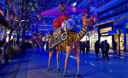 Camel decorations in the street. A picture of two camel dolls  decoration,in a street,in a greek town thessaloniki,in a  night of december Royalty Free Stock Photos