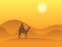 Camel desert. Cartoon illustration of person riding a camel in the desert Royalty Free Stock Photos