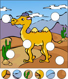 A camel in a desert. Complete the puzzle and find the missing pa. Rts of the picture. Vector illustration. Educational game for kids Stock Photos