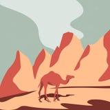 Camel and Desert. Illustration of camel in the desert. Vector illstration background. Art illustration camel and desert. Camel in the dunes. Camel in desert with Stock Images