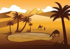 Camel drink water in oasis desert nearby Pyramids,silhouette des Stock Photo