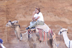 Camel Driver Smoking Stock Images