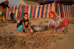 Camel dung collectors. A women and a girl collecting camel dung at the Pushkar Camel Fair 2009 Royalty Free Stock Image
