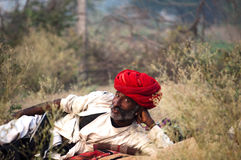 The camel herder and the red turban. Camel trader of Pushkar, Rajasthan, India wearing red turban and laying on the fair ground Royalty Free Stock Photos