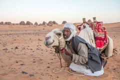 Camel and his cameleer. stock photos