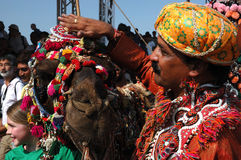 Camel and his owner at camel decoration competition,Pushkar,Rajastan Royalty Free Stock Image