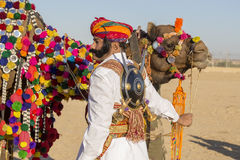 Camel and indian men wearing traditional Rajasthani dress participate in Mr. Desert contest as part of Desert Festival in Jaisalme Royalty Free Stock Image