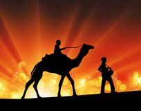 Camel and man silhouette desert festival sun light rays. Vector illustration silhouette camel and men music festival party crowd. Isolated on orange and yellow Royalty Free Stock Image