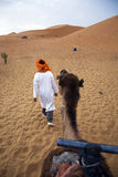 Camel and nomad. Guide leading a camel in the desert Royalty Free Stock Photos