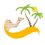 Camel and palm tree in the desert, vector. Illustration Royalty Free Stock Photography